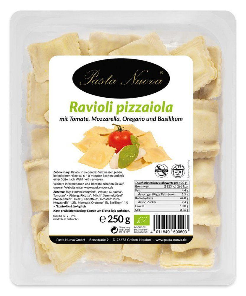 Frische Ravioli pizzaiola Mozzarella und Tomate